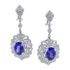 Tanzanite Diamond Chandelier Drop Earrings 18 Karat White Gold