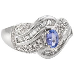 Tanzanite Diamond Cocktail Ring Estate 14 Karat White Gold Vintage Fine Jewelry