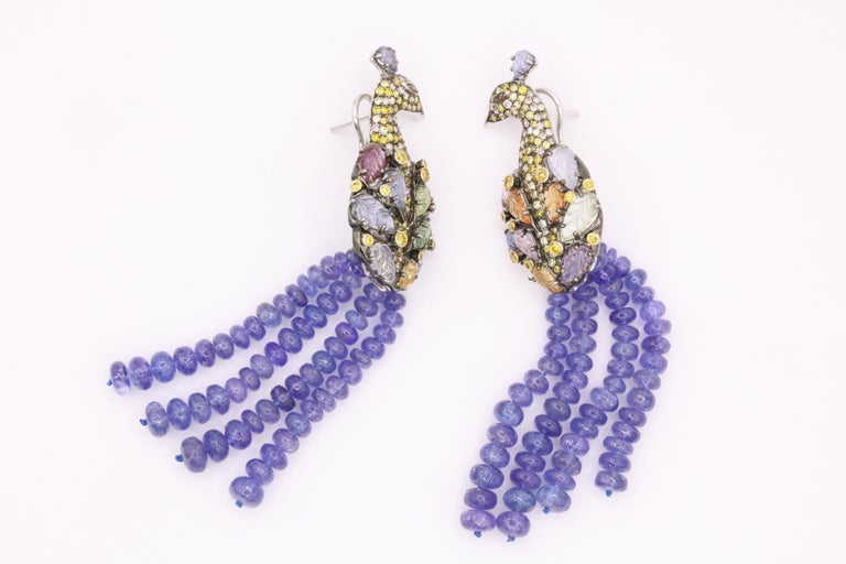 Tanzanite Diamond Craved Sapphire Peacock Earrings 18 Karat White Gold For Sale 4