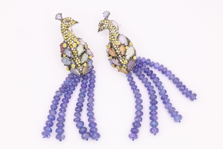 Tanzanite Diamond Craved Sapphire Peacock Earrings 18 Karat White Gold For Sale 5
