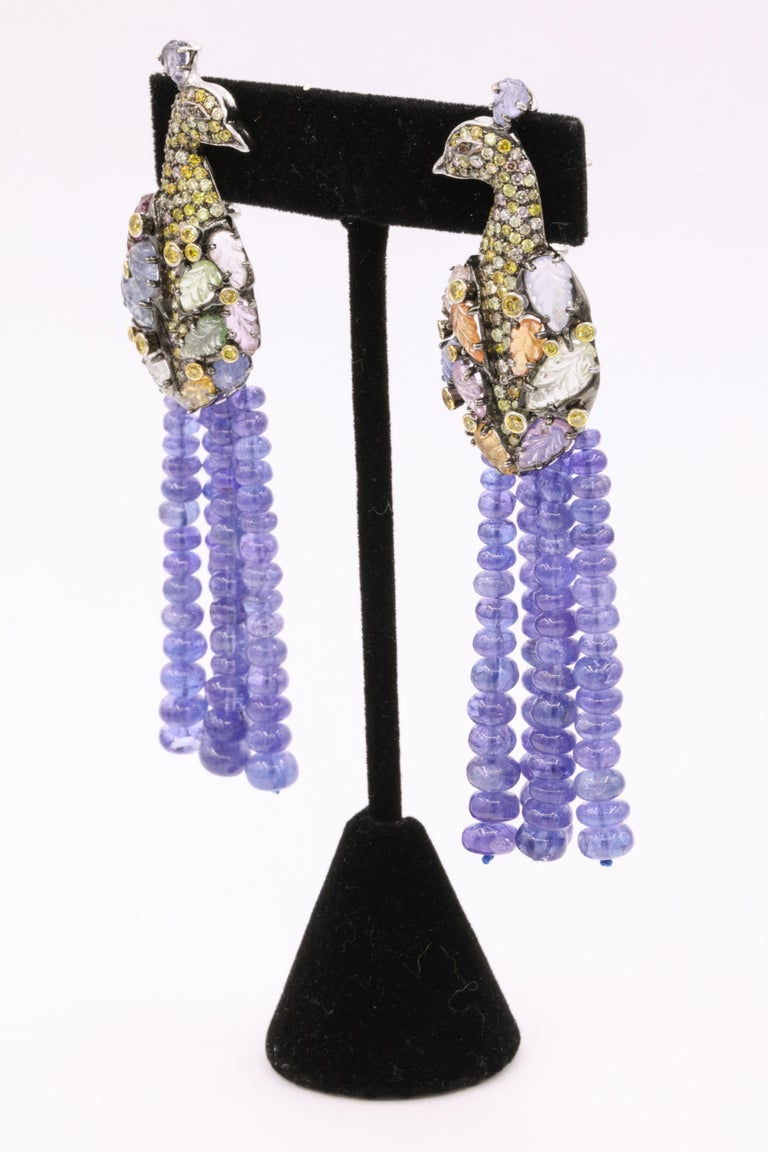 Tanzanite Diamond Craved Sapphire Peacock Earrings 18 Karat White Gold For Sale 2