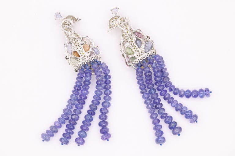Tanzanite Diamond Craved Sapphire Peacock Earrings 18 Karat White Gold For Sale 3