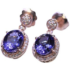 Tanzanite Diamond Dangle Earrings 14 Karat Rose Gold 3.40 Carat Tanzanite