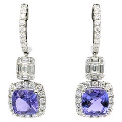 Tanzanite Diamond Drop Earrings 4.37 Carat 18 Karat