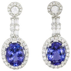 Tanzanite Diamond Drop Earrings 4.43 Carat 18 Karat White Gold