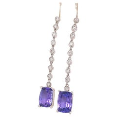 Tanzanite Diamond Earring 18 Karat 4.70 TCW Certified