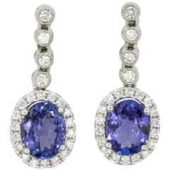 Tanzanite Diamond Halo Drop Earrings 3.15 Carat 18 Karat White Gold