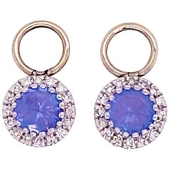 Tanzanite & Diamond Halo Earring Charms 14k White Gold .50 Carat Hoop Charm Set