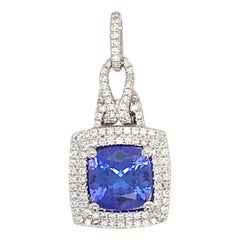Tanzanite Diamond Halo Pendant 2.65 Carat 18 Karat White Gold
