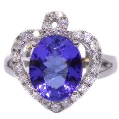 Tanzanite Diamond Heart Shape 18 Carat White Gold Ring