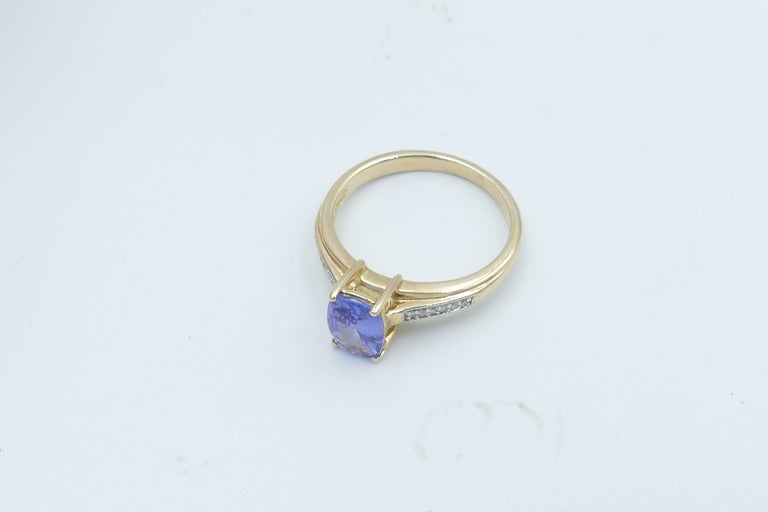 Women's Tanzanite and Diamond Modern or Dress Ring Set in Yellow and White Gold For Sale