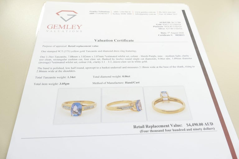 Tanzanite and Diamond Modern or Dress Ring Set in Yellow and White Gold For Sale 1