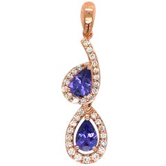 Tanzanite Diamond Pear Shape Drop Pendant 1.10 Carat 14 Karat Rose Gold