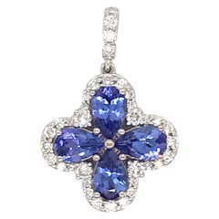 Tanzanite Diamond Pendant Necklace 2.05 Carat 14 Karat White Gold