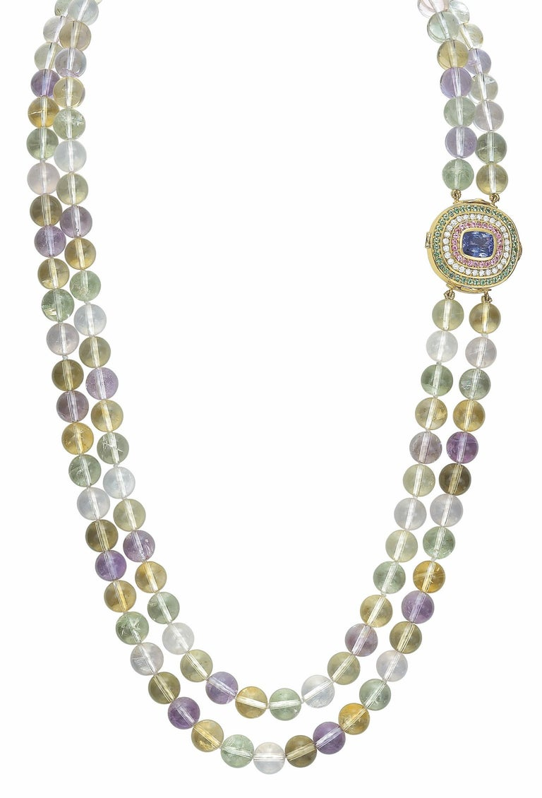 Contemporary Tanzanite, Diamond, Pink Sapphire, Green Tourmaline and Spodumene Necklace For Sale