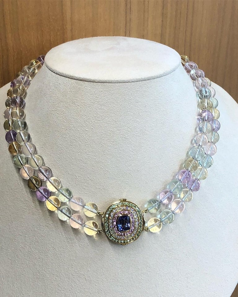 Tanzanite, Diamond, Pink Sapphire, Green Tourmaline and Spodumene Necklace In New Condition For Sale In Dallas, TX