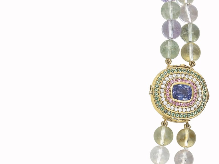 Tanzanite, Diamond, Pink Sapphire, Green Tourmaline and Spodumene Necklace For Sale 2