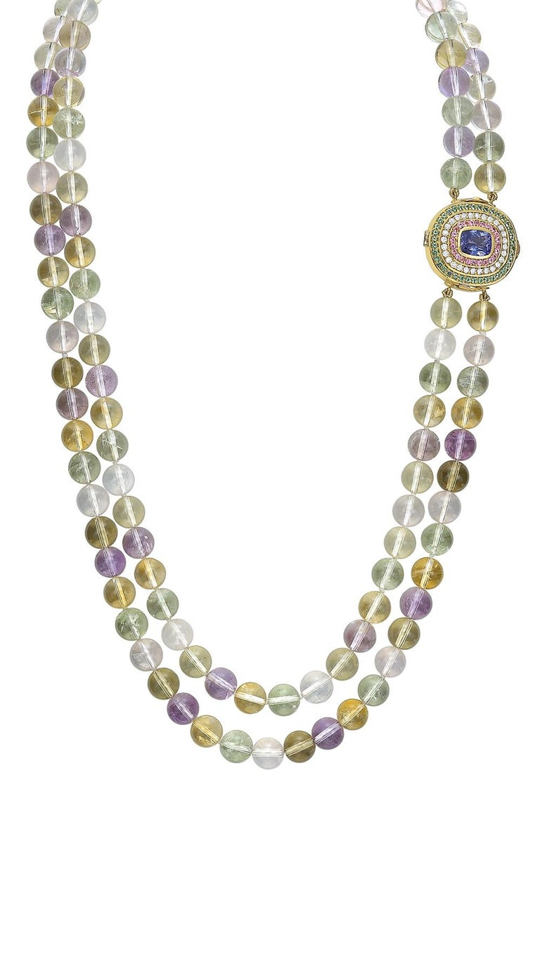 Tanzanite, Diamond, Pink Sapphire, Green Tourmaline and Spodumene Necklace For Sale 3