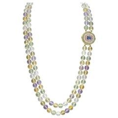 Tanzanite, Diamond, Pink Sapphire, Green Tourmaline and Spodumene Necklace