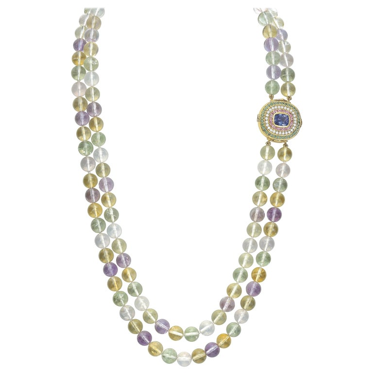 Tanzanite, Diamond, Pink Sapphire, Green Tourmaline and Spodumene Necklace For Sale