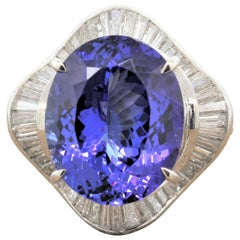 Tanzanite Diamond Platinum Ballerina Ring