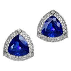 Tanzanite Diamond Platinum Earrings