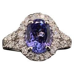 Tanzanite Diamond Ring 14 Karat 2.65 Carat Certified