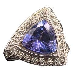 Tanzanite Diamond Ring 14 Karat 4.25 Carat Certified