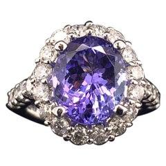 Tanzanite Diamond Ring 14 Karat 5.30 Carat Certified