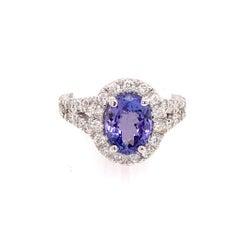 Tanzanite Diamond Ring 14k White Gold 2.65 TCW Certified