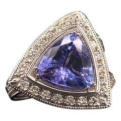 Tanzanite Diamond Ring 14k White Gold 4.25 TCW Certified