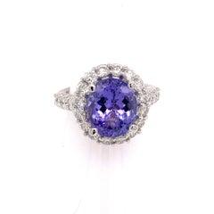 Tanzanite Diamond Ring 14k White Gold 5.30 TCW Certified
