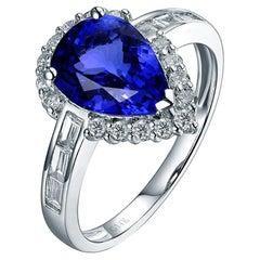 Tanzanite Diamond Ring 18 Karat White Gold
