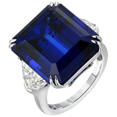 Tanzanite Ring 20.51 Carat Emerald Cut