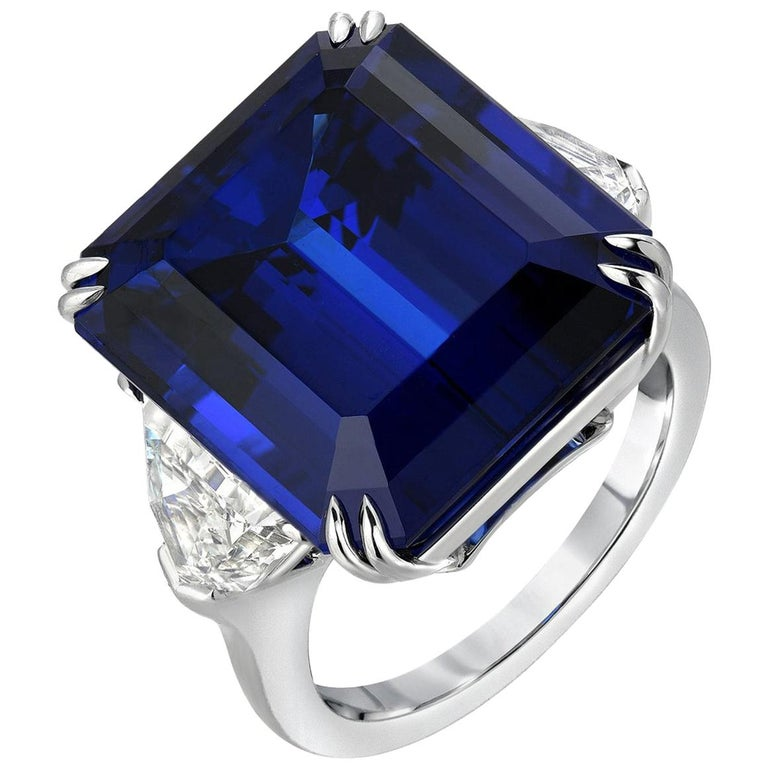 Tanzanite Ring 20.51 Carat Emerald Cut For Sale