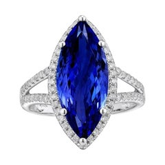Tanzanite Diamond Ring 5.02ct 18k White Gold