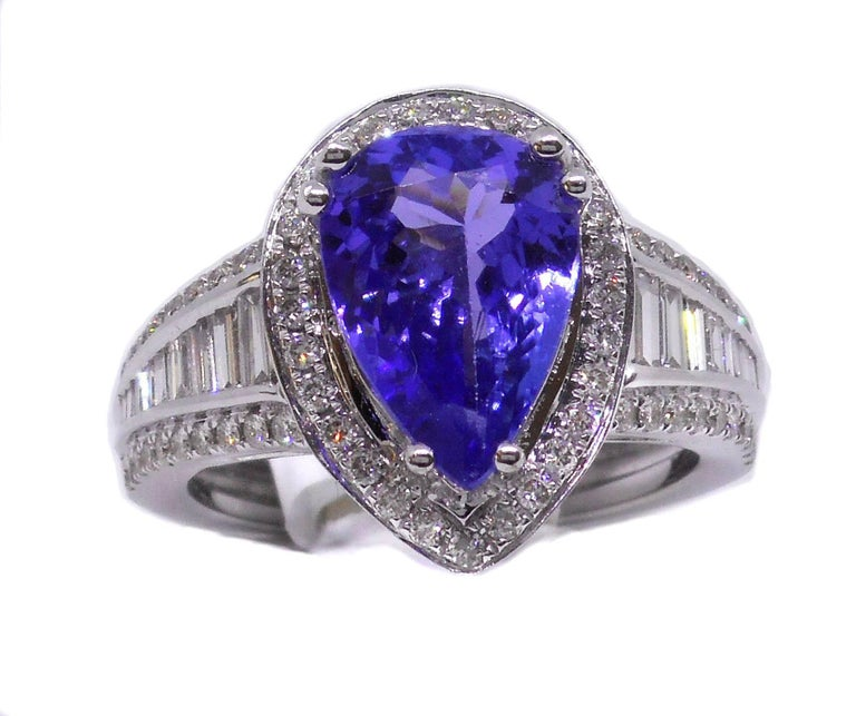Teardrop Tanzanite: Tanzanite Diamond Ring Tear Drop 18 Carat White Gold For