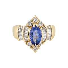 Tanzanite Diamond Ring Vintage Marquise Shape 14k Yellow Gold Estate Jewelry