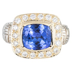 Tanzanite Diamond Square Ring Vintage 14 Karat Two-Tone Gold Estate Fine Jewelry