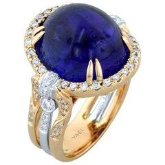 Tansanit Diamant Weiß- und Gelbgold Ring