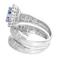 Tanzanite and Diamond White Gold Ring