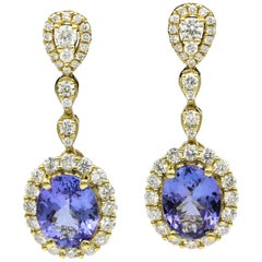 Tanzanite Diamond Yellow Gold Drop Earrings 4.43 Carat
