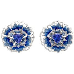 Tanzanite Diamonds Sapphires 18 Karat White Gold Cornflower Earrings