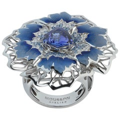Tanzanite Diamonds Sapphires 18 Karat White Gold Cornflower Ring