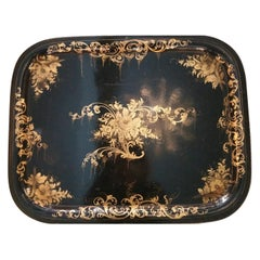 Napoleon III French Metal Toleware Tray Hand Painted with Gold Paint 1850