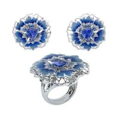 Tanzanite Diamonds Sapphires 18 Karat White Gold Cornflower Suite