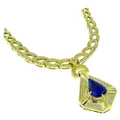 Tanzanite Drop Diamond Yellow Gold Necklace