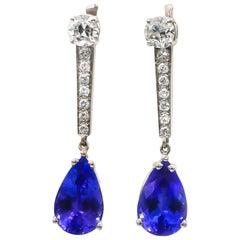 Tanzanite Earrings 5.80 Carat with Diamonds 1.40 Carat G/VS 18 Karat Gold