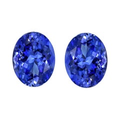Tanzanite Earrings Gemstone Pair 4.64 Carat Unset Oval Loose Gems
