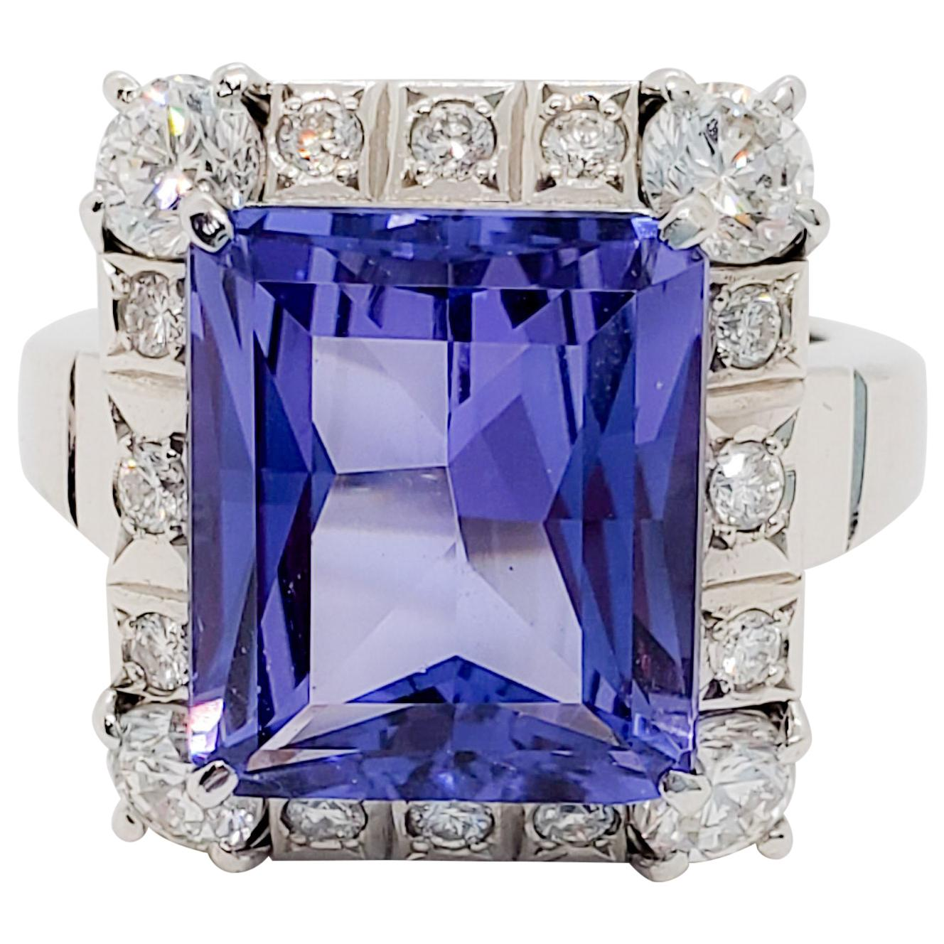 Tanzanite Emerald Cut and White Diamond Cocktail Ring in Platinum